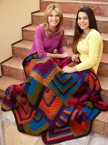 Vanna White with daughter and mitered diamond throw