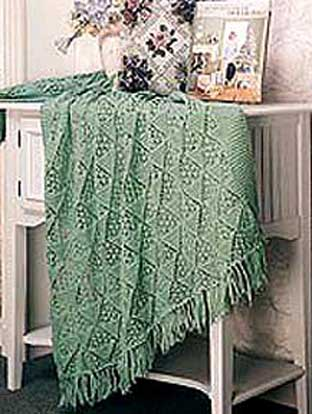 Quick And Easy Knitted Afghan Patterns : Lacy Pyramid Knit Afghan Welcome to the Craft Yarn Council