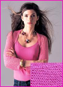 model wearing Pink Openwork Shrug