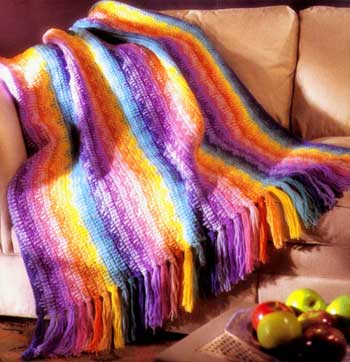 Rainbow Afghan - Crochet Welcome to the Craft Yarn Council