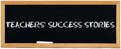 Chalkboard with Teachers Success Stories written