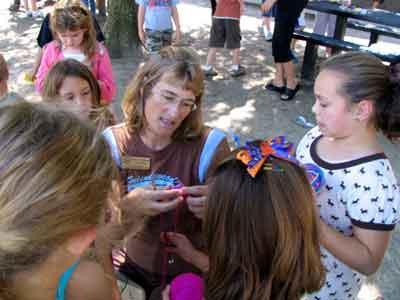 Barbara knitting with students