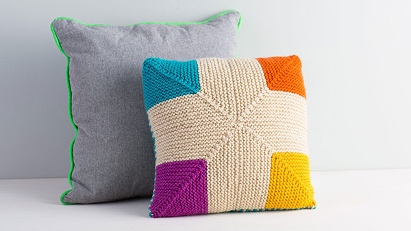 Mitered Knitting Pillow